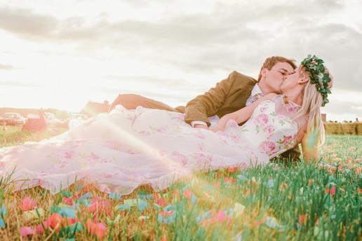 Fun colourful wedding portrait