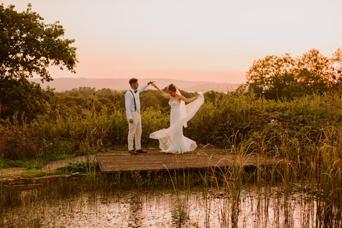 Bride and Groom at Folly Farm Somerset