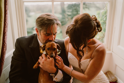 A couple and their sausage dog