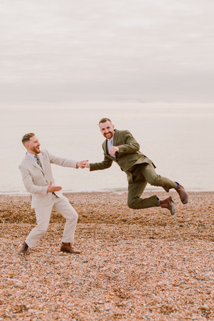 Gay Grooms on the Beach in Brighton