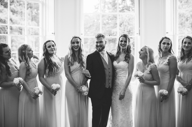Funny group photograph of wedding party