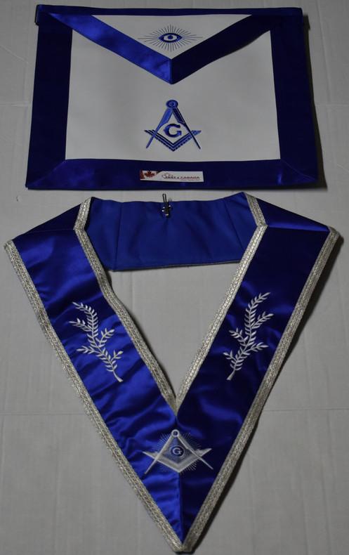 Masonic Master Mason Dress Apron & Collar Royal Blue Satin Set Silver G