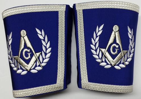 Masonic Master Mason Set Blue with Silver Embroidery Apron,Collar & Cuffs