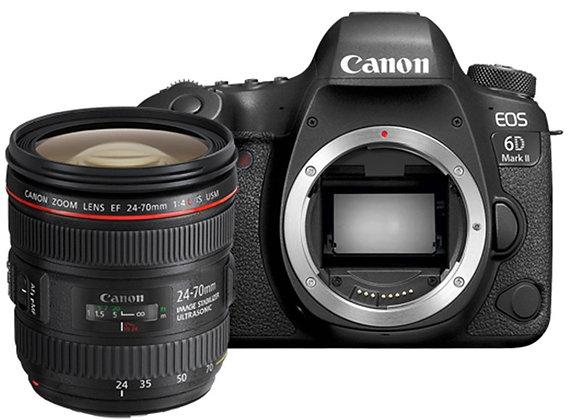 מצלמה DSLR קנון Canon EOS 6D Mark II + 24-70mm L f/4 - קיט קרט יבואן רשמי