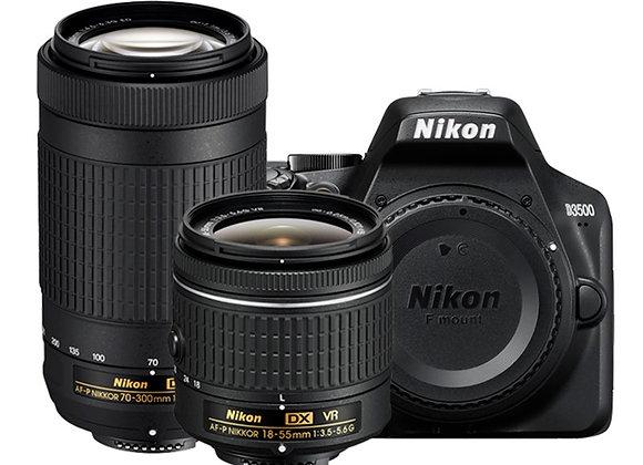 NIKON D3500 + 18-55 VR + 70-300 VR - קיט DSLR מצלמת ניקון - יבואן רשמי