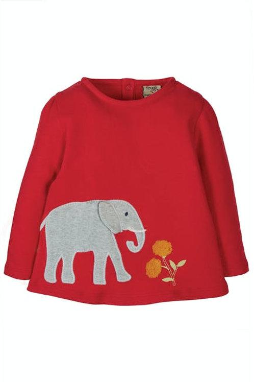 Frugi Connie Applique Top | Red Elephant