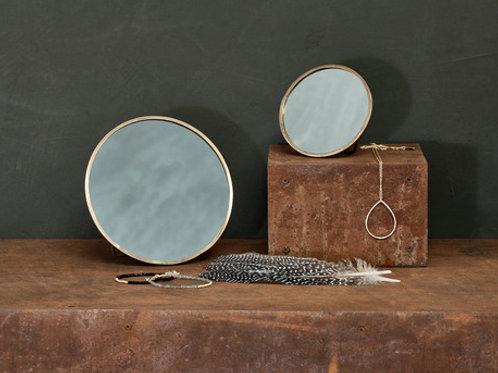 Nkuku Small Kiko Round Mirror - Antique Brass