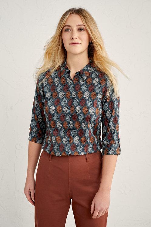 Seasalt Women's Larissa Shirt   Carved Leaf Dusky Jade