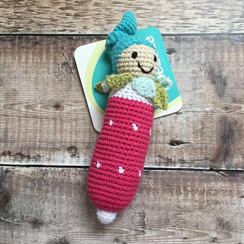 Pebble Friendly Vegetable Baby Rattle   Radish