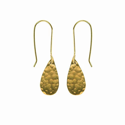 Just Trade Hammered Brass Raindrop Earrings
