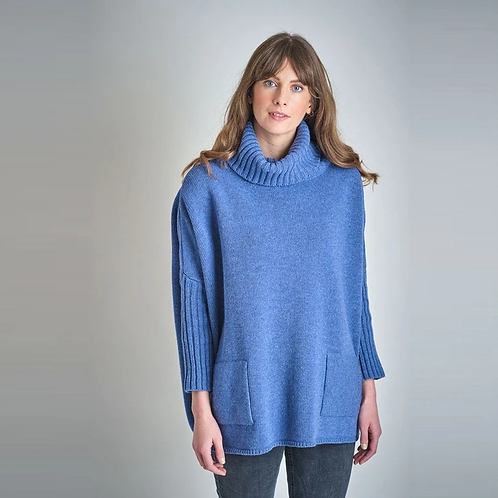 Bibico Adela Oversized Jumper | Blue Melange