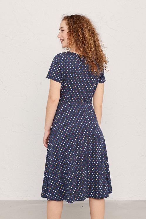 Seasalt Short Sleeved April Dress | Polka Dot Waterline