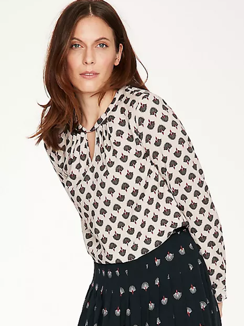Thought Salvo Organic Cotton Long Sleeve Printed Blouse