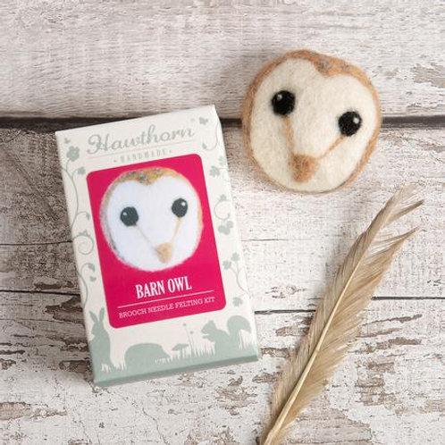 Needle Felting Kit | Barn Owl Brooch