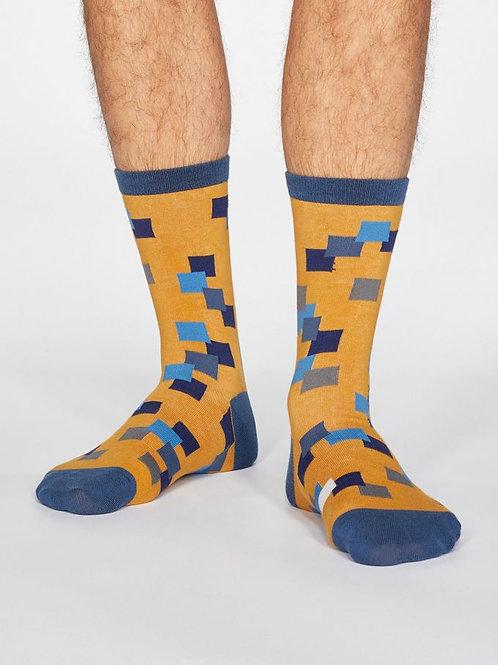 Thought Mens Organic Cotton Evan Square Print Socks