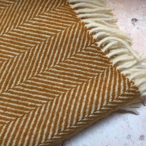 Tweedmill | Mustard Wool Herringbone Blanket