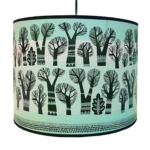 Lush Winter Trees Blue Lampshades