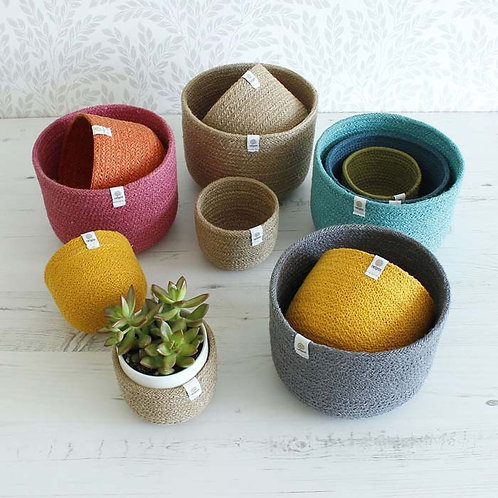 Respin Tall Jute Basket Sets