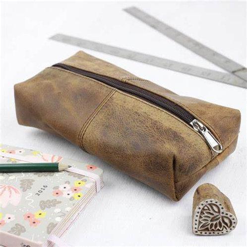 Scaramanga Brown Leather Pencil Case
