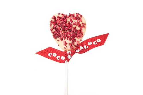 Cocoa Loco White Chocolate & Raspberry Heart Lolly
