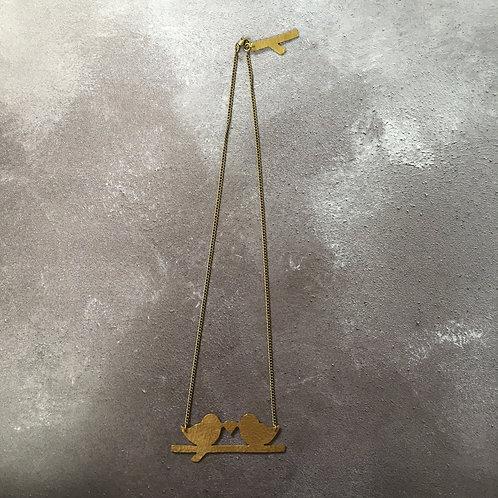 Just Trade Hammered Brass Lovebird Necklace
