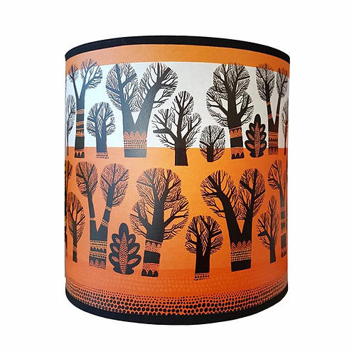Lush Winter Trees Orange Lampshades