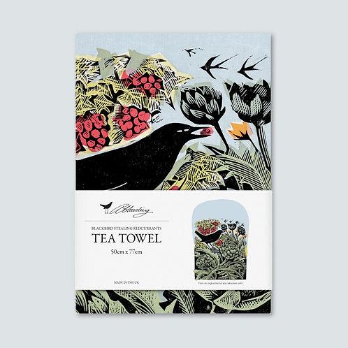 Angela Harding Tea Towel | Blackbird Stealing Redcurrants