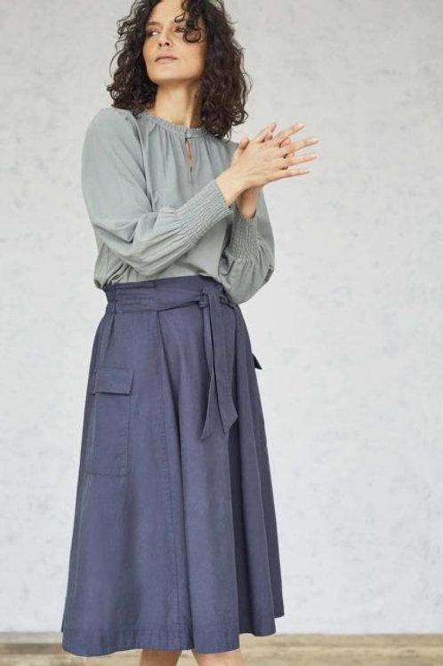 Thought Niamh Tencel Organic Cotton Twill Utility Skirt | Mid Blue