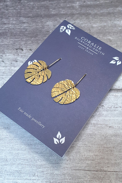 Just Trade Tropical Leaf Earrings Small