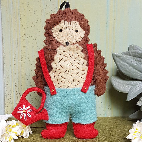 Wool Felt Embroidery Kit   Hedgehog Gardener