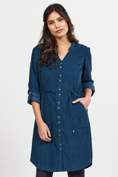 Nomads Cotton Cord Drawstring Waist Dress   Midnight