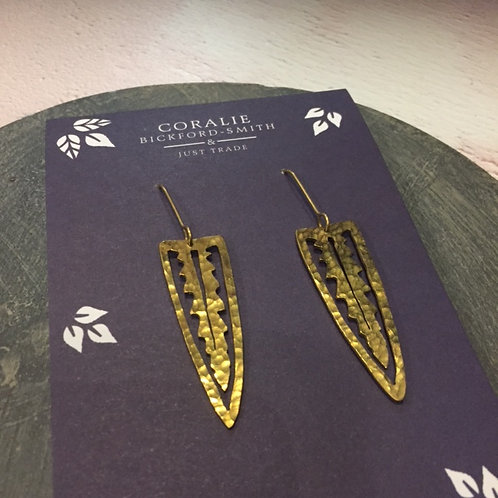 Just Trade Palm Leaf Earrings Small