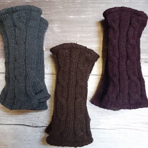 Black Yak Cable Knit Wristwarmer