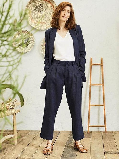 Thought Erin Woven Hemp Straight Leg Trousers | Navy