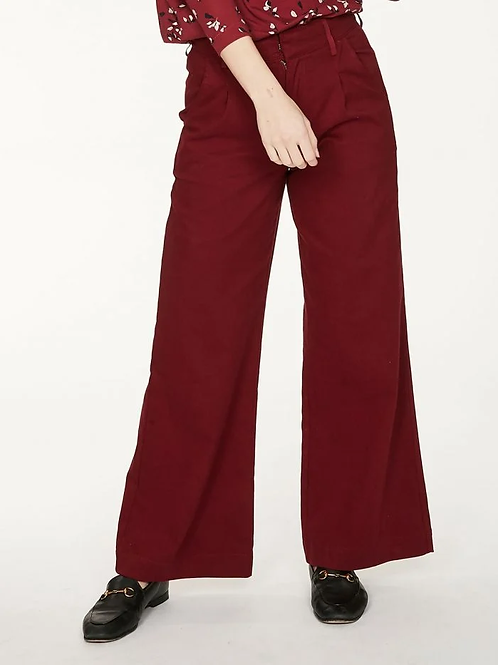 Thought Keri Wide Leg Twill Trousers | Ruby Red