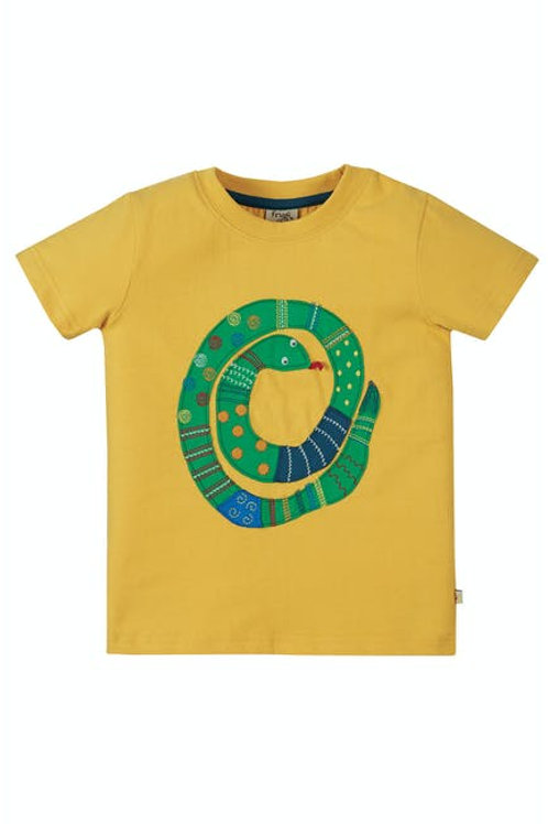 Frugi Avery Applique Top | Yellow Snake