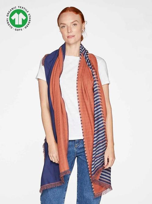 Thought Rufina Colour Block Jacquard Organic Cotton Scarf | Terracotta Orange