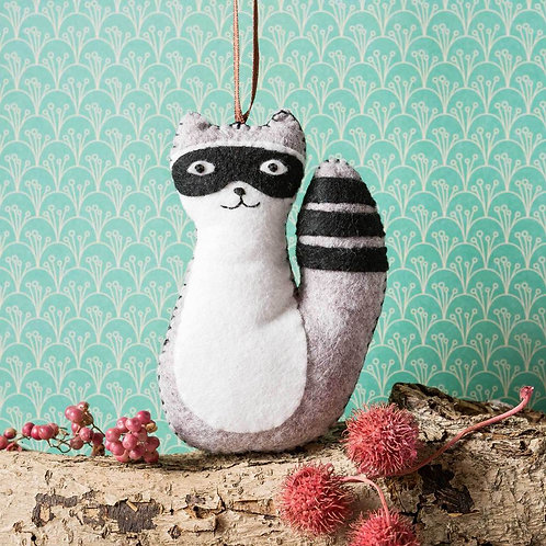 Wool Felt Embroidery Kit | Racoon