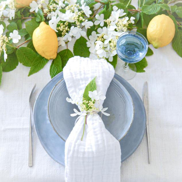 Mariage Limone e fiori bianchi
