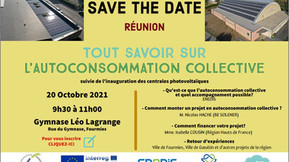 """SAVE THE DATE Réunion """"tout savoir sur l'autoconsommation collective"""" à Fourmies"""