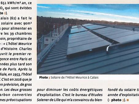 Magazine CVC : notre installation solaire thermique à l'Hôtel Meurice à Calais