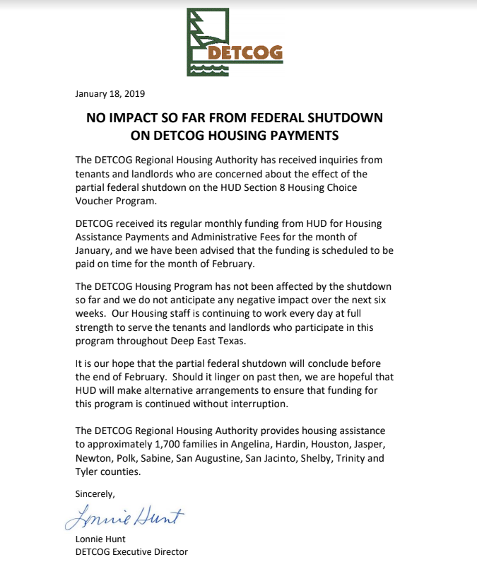 Housing Payments Notice - Govt Shutdown.