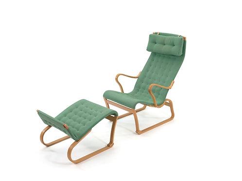 Bruno Mathsson Design Migo Green Wool Miranda Chair and Ottoman