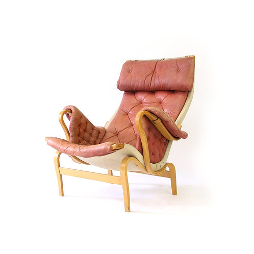 Early Bruno Mathsson Pernilla for Dux Salmon Pink Leather