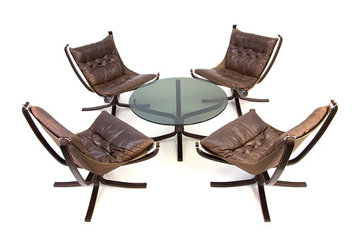 Sigurd Ressell Vatne Mobler Falcon Chair Table Set Brown Leather