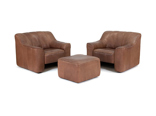 DeSede DS44 Convertible Lounge Chairs and Ottoman Set