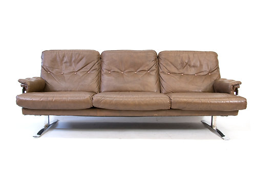 Arne Norell Vatne Mobler Buffalo Leather Chrome Sofa