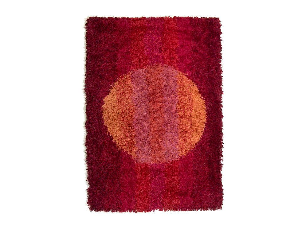 Large Vintage Kosmos Wool Rya Rug From Sweden Free Shipping Malefors