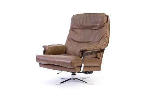 Arne Norell for Vatne Mobler Buffalo Leather and Chrome Adjustable Lounge Chair