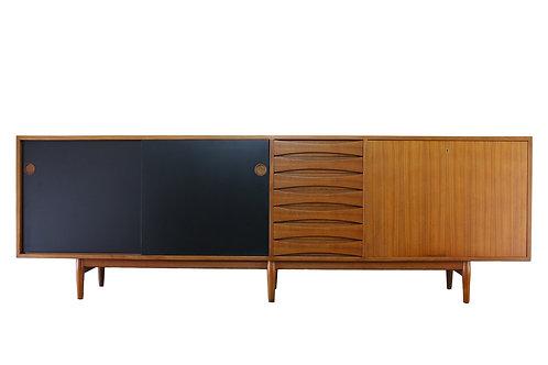 Arne Vodder for Sibast Furniture Model 29A Teak Credenza Black Doors